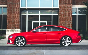 Picture Audi, red, wheels, side, RS7