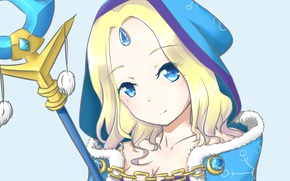 Picture girl, the game, art, blonde, chain, hood, staff, Anime, Anime, Crystal Maiden, Dota 2, I …