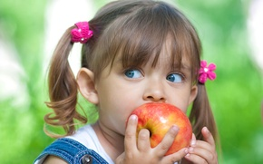 Wallpaper girl, look, red, girlie, apple, red, Apple, blue, eyes