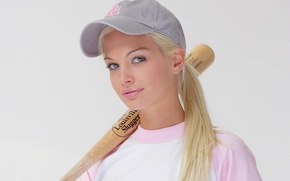Picture look, sport, baseball, t-shirt, blonde, lips, cap, baseball cap, bit, Franziska Facella