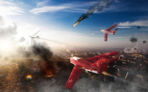 Picture the sky, clouds, fighter, Art, jet, the MiG-15, Soviet, THE SOVIET AIR FORCE, War Thunder, …