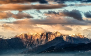 Picture clouds, sunset, mountains, nature, tops