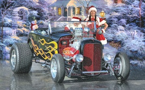 Picture winter, holiday, New Year, maiden, Santa Claus, hot-rod, classic car