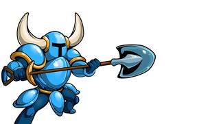 Picture blue, warrior, attack, Shovel Knight