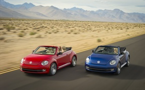 Picture road, mountains, blue, red, movement, speed, beetle, convertible, cars, Convertible, Volkswagen Beetle