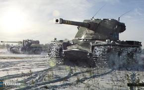 Picture winter, field, the sun, snow, tank, offensive, heavy, World of Tanks, Swedish, KRANVAGN