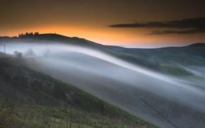 Picture landscape, sunset, fog, hill, haze