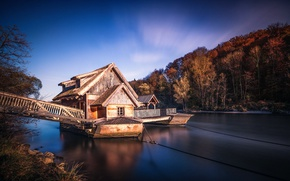 Picture trees, house, river, pier, At the water mill