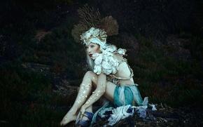 Picture fantasy, crown, corals, outfit, siren, Jessica Dru