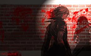 Picture night, blood, shadow, katana, tears, brick wall, shiki, sideways, togainu no chi, a togainu no …