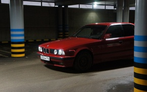 Picture red, BMW, garage, BMW, Parking, Boomer, bmw 5 series, red bmw
