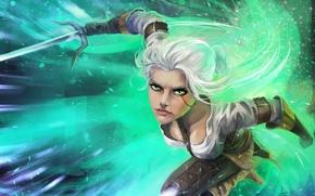 Picture look, weapons, art, attack, Ciri, Witcher 3: Wild Hunt, Cirilla
