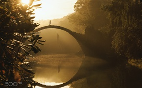 Picture girl, light, trees, Park, river, the bridge