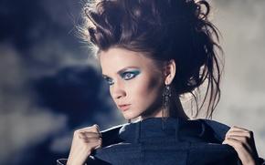Picture girl, face, model, earrings, makeup, brunette, hairstyle, Kris Strange, Christina Makarova, Kristina Makarova