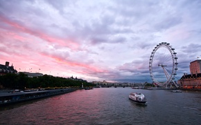 Picture London Eye, London, Great Britain, capital, Ferris Wheel, architecture, England, London, Thames, capital, the evening, ...