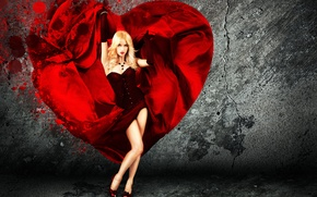 Picture look, girl, pose, background, heart, dress, blonde, gloves, corset
