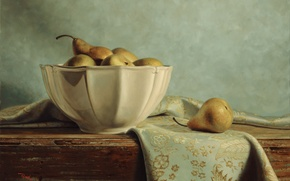 Picture table, figure, picture, vase, still life, reproduction, pear, tablecloth, Kyle, Polzin