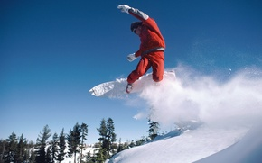 Picture snow, snowboard, mountain, forest.