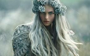 Wallpaper girl, makeup, wreath, Magda, Agnieszka Lorek, Her secret
