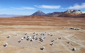 Wallpaper antenna, Chile, Observatory, locators, ALMA, radio telescopes, Chilean Andes, antennas, Chajnantor Plateau