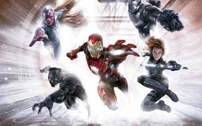 Picture fiction, Scarlett Johansson, art, Scarlett Johansson, Vision, Iron Man, comic, superheroes, Black Widow, MARVEL, concept …