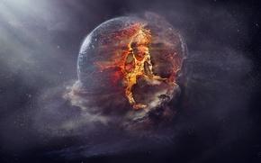 Picture explosion, fire, planet, destruction