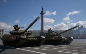 Picture the city, area, Saint Petersburg, tank, combat, armor, T-72