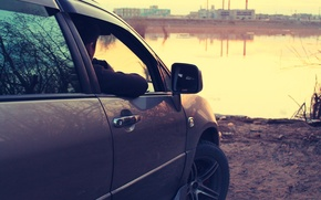 Picture water, sunset, view, Toyota, Harrier