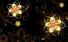 Picture flowers, background, patterns, 3D Graphics