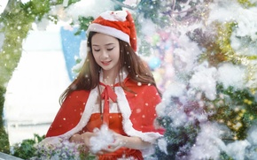 Picture girl, background, holiday, costume, Asian