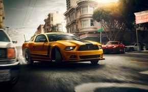 Picture Mustang, Ford, Muscle, Dodge, Red, Car, Viper, Speed, Front, Sun, Street, San Francisco, Yellow, 302, …