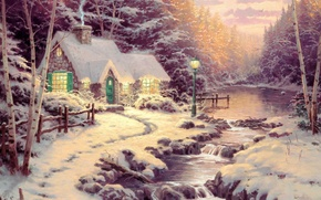 Picture snow, river, winter, art, ate, birch, river, forest, Thomas Kinkade, picture, forest, painting, painting, cottage, ...