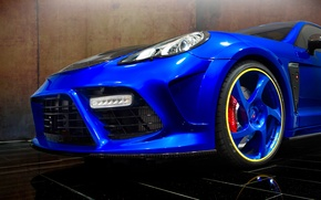 Picture machine, blue, lights, tuning, Porsche, Panamera, drives, the front, Turbo, Mansory