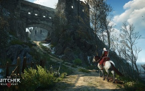 Wallpaper the sky, trees, horse, the game, fortress, game, the Witcher, Geralt, The Witcher 3: Wild ...