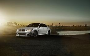 Picture BMW, Car, Carbon, Front, Sunset, Sunrise, Sport, Sedan, Fiber, Saloon, Balloon White, GTS60