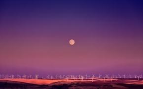 Wallpaper the moon, wind turbine, twilight, field
