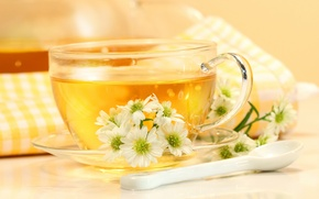 Wallpaper flowers, table, tea, spoon, mug, drink, saucer, napkin