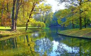 Picture autumn, trees, pond, Park