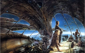 Wallpaper ship, art, Luis Royo, people, planet, girl, The Chantry Guild, space