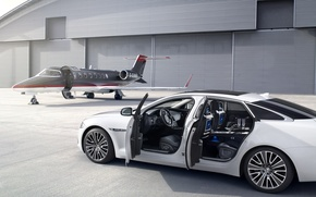 Picture white, the plane, Jaguar, hangar, Jaguar, white, ultimate, plane, hangar, xjl