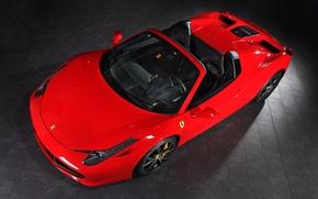 Picture Red, Convertible, Ferrari, 458, The view from the top, Spider, Kupeška, Capristo