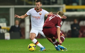 Picture Football, Soccer, AS Roma, Bosnia, Centrocampista, Miralem Pjanic, Midfield. Dribling