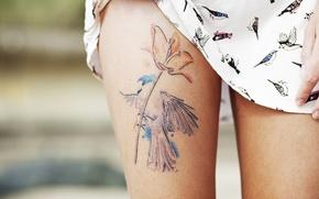 Wallpaper girl, feet, tattoo