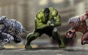 Picture battle, Hulk, Hulk, Marvel, comic, fight, comics, Juggernaut, Rhino, charge, jerk, Rhino, Juggernaut, by Nebezial, …