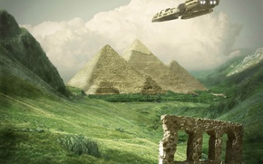 Picture grass, ship, pyramid
