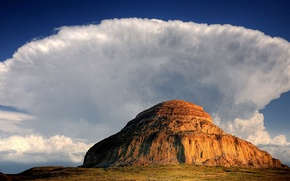 Picture clouds, mountain, Canada, Saskatchewan, Big Muddy Valley, Castle Butte