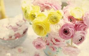 Picture flowers, tenderness, vase, Ranunculus