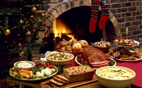Picture meals, festive table, tree, new year, food, socks, meat, fireplace