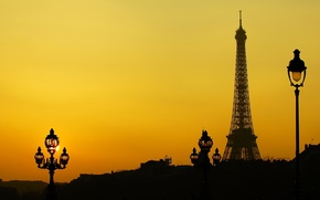 Picture France, Paris, tower, silhouette, lights
