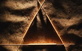 Wallpaper sticks, shadows, Triangle